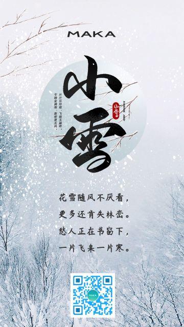 小雪二十四传统节气雪花海报