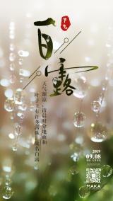 创意早晨露珠水滴白露节气日签白露时节心情语录早安二十四节气宣传海报