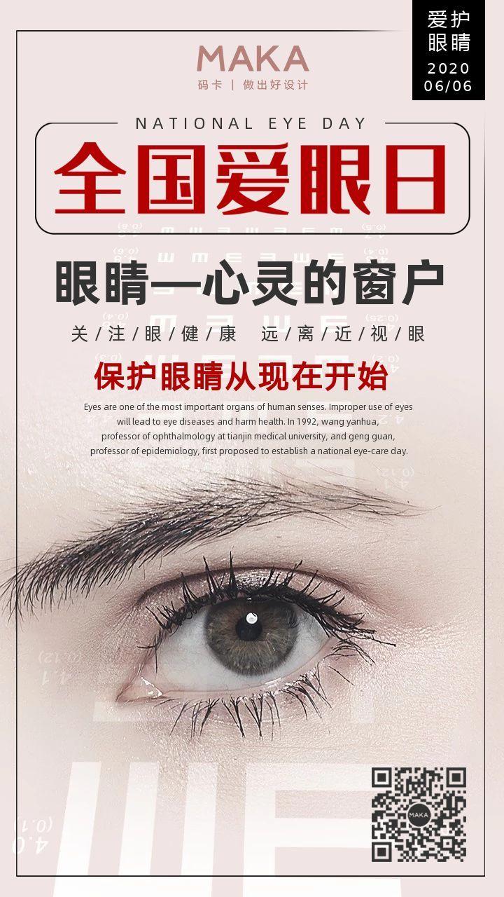 灰色创意世界爱眼日节日宣传手机海报