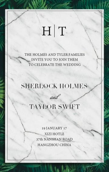 大理石绿色植物极简唯美婚礼邀请函请柬
