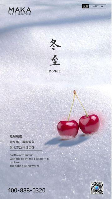 极简创意大雪冬至节气樱桃白雪皑皑日签早安二十四节气宣传海报