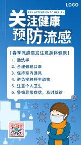清新医疗卫生健康预防流感疫情防范呼吸病毒传染疾病早安晚安心情日签小知识宣传海报