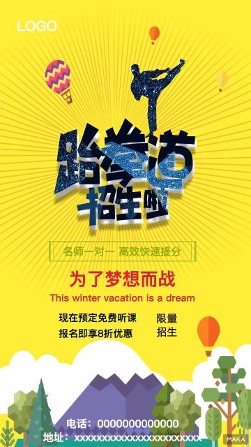 炫酷跆拳道招生广告海报
