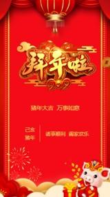 2019年福猪年春节祝福大红喜庆中国风该模板采用传统中国风设拜年贺卡通用视频模板