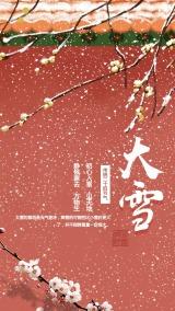 红色宫墙二十四节气大雪手机海报