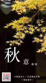二十四节气金秋时节简约文艺传统秋分日签秋意正浓提醒海报