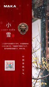中国风24节气小雪宣传海报