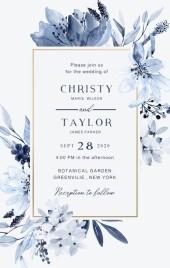 灰蓝色墨蓝水彩手绘花朵优雅婚礼请柬邀请函