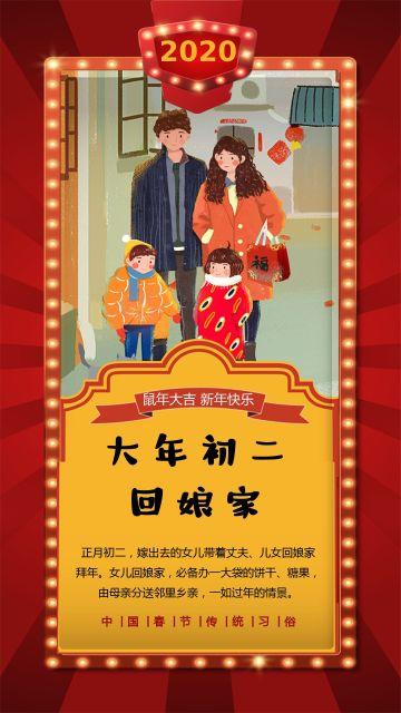 正月初二回娘家剪纸风2020鼠年春节祝福大年初二拜年手机版新年日签习俗海报
