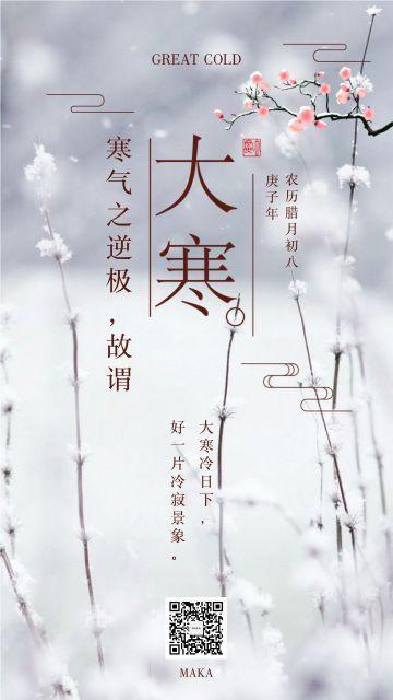 大寒节气2020白色简约大气企业宣传海报