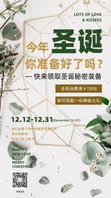 圣诞节2020年绿色时尚绚丽大气宣传活动海报