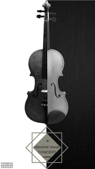 小提琴-古典音乐-黑白