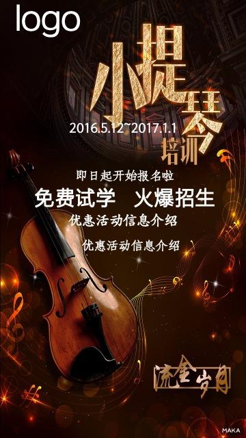 小提琴培训班通用深色系琴盒色优雅神秘风格海报