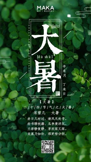 清新自然微商大暑节气通知宣传海报