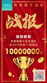 1911红色喜庆商务销售战报双十一双十二产品业绩海报