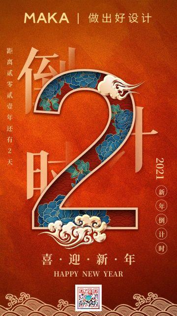 红色中国风喜庆2021新年倒计时2天宣传海报