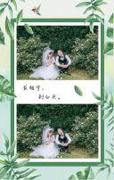 清新树叶时尚婚礼邀请函
