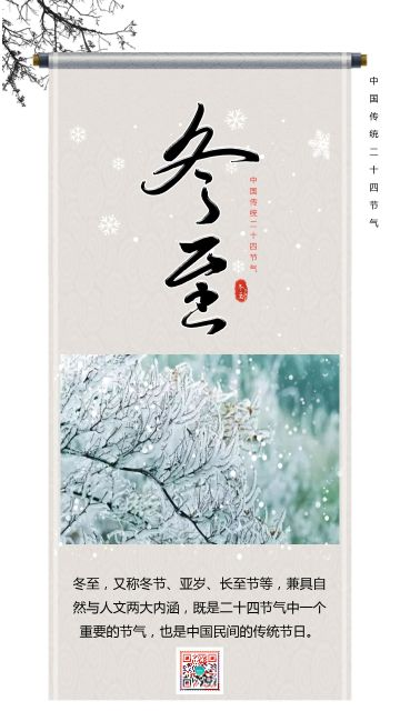灰色简约大气中国传统二十四节气之冬至知识普及宣传海报