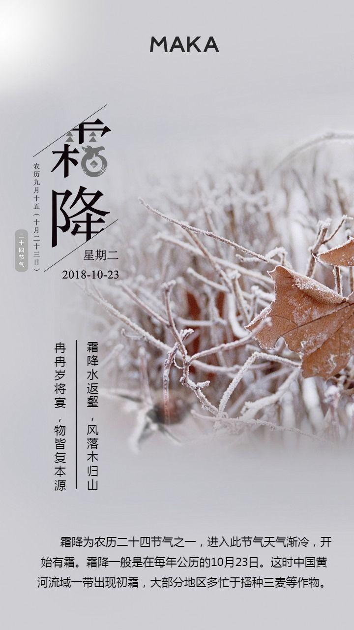 极简二十四节气霜降节日海报