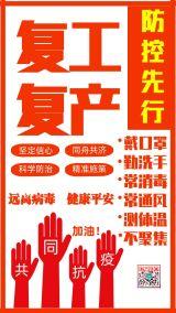 红色简约扁平武汉疫情复工复产开工开业防控防疫防护指南手机宣传海报