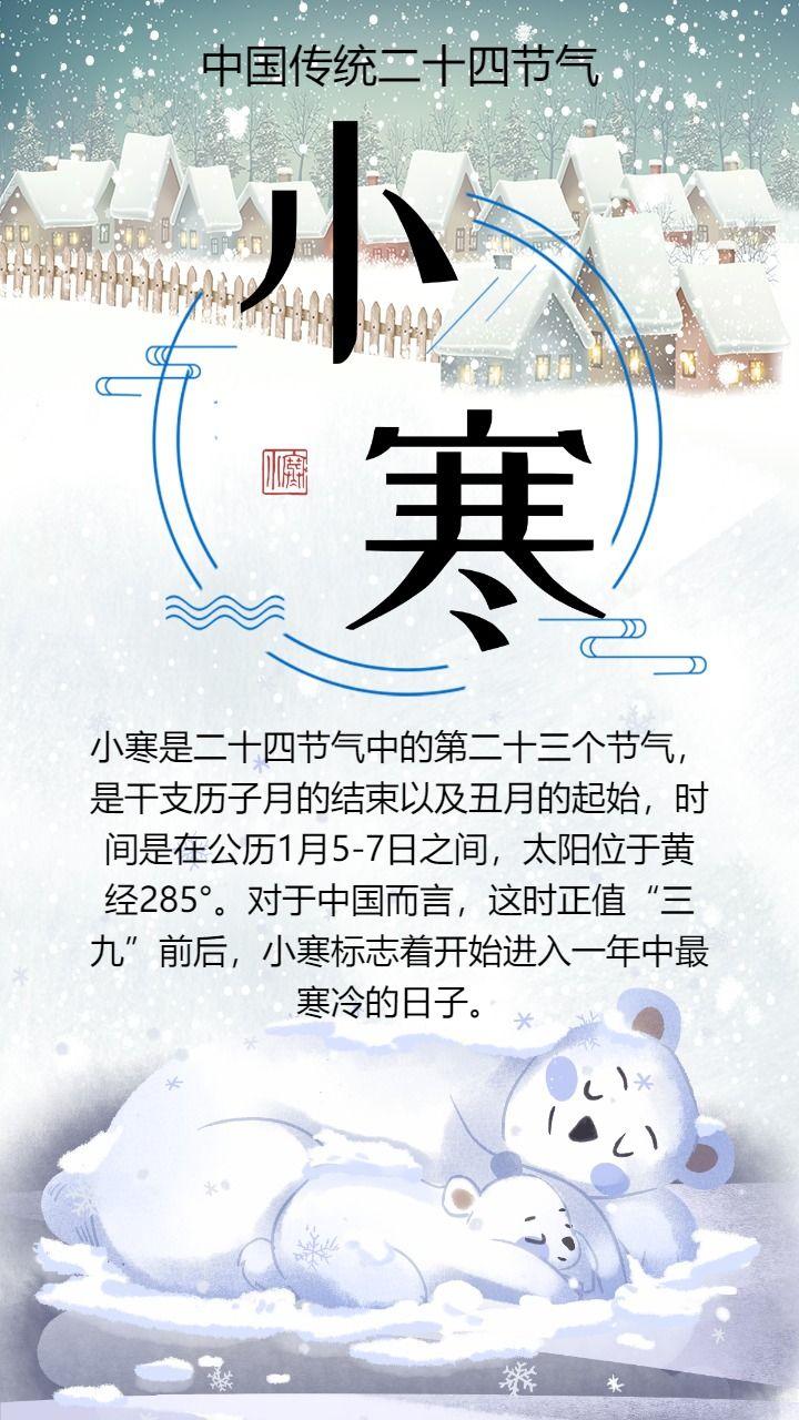 清新时尚小寒节气海报