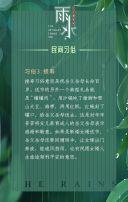 绿色简约清爽雅致 中国传统文化传承二十四节气之雨水 中华民族民俗风情推广传播H5