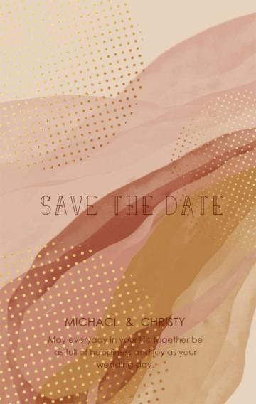 灰粉色秋色晕染色时尚高级粉暖色系水彩金箔 婚礼邀请函请柬莫兰迪色