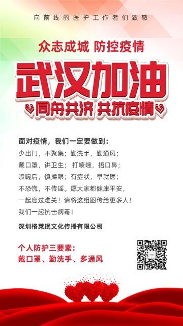 预防冠状病毒战胜疫情武汉加油宣传推广海报模板