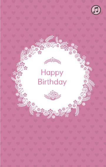 生日祝福贺卡/粉色的回忆