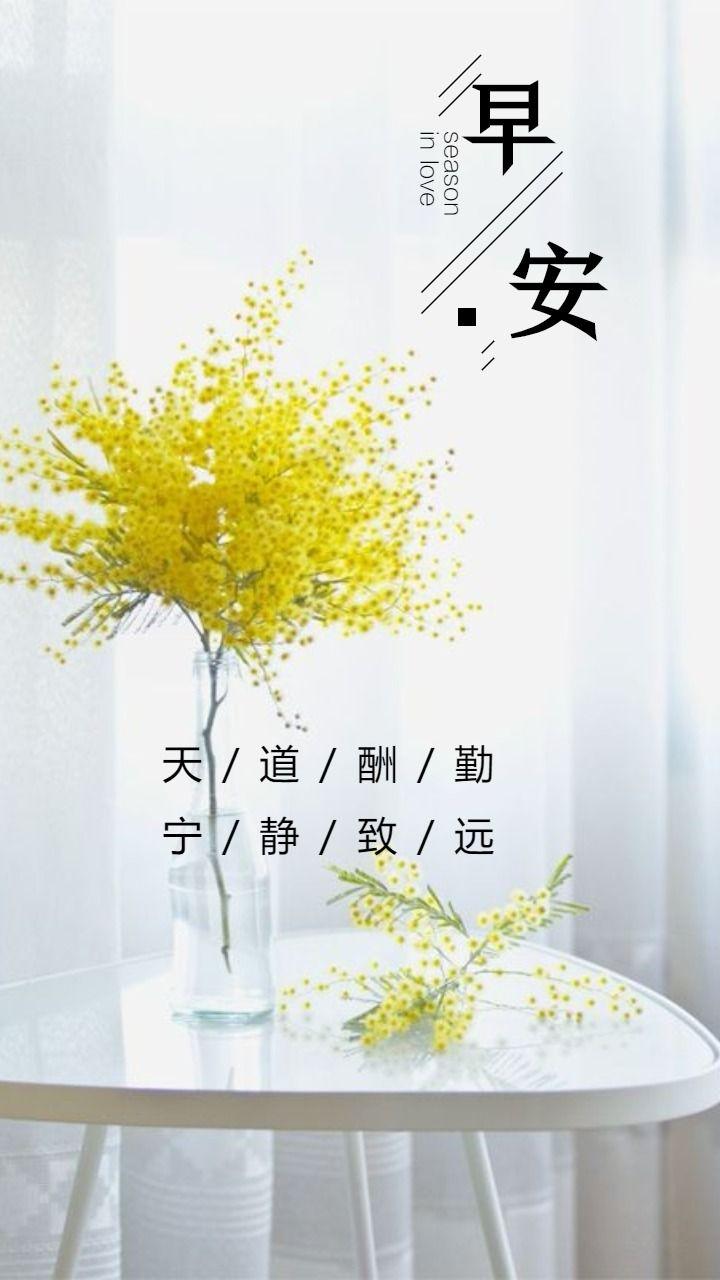 早安心情语录日签黄色鲜花简洁插花