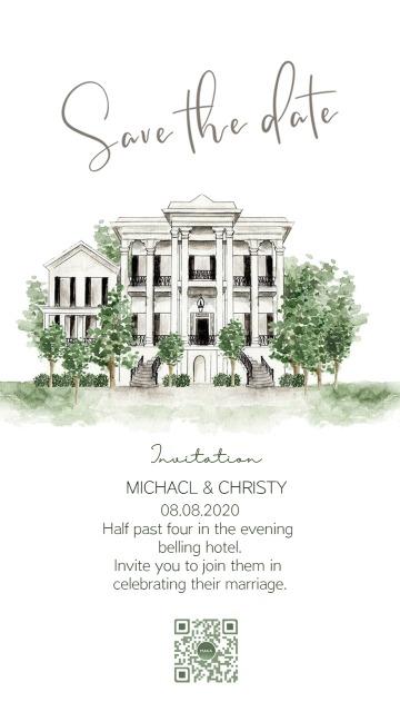 白绿手绘建筑简约欧式婚礼请柬邀请函