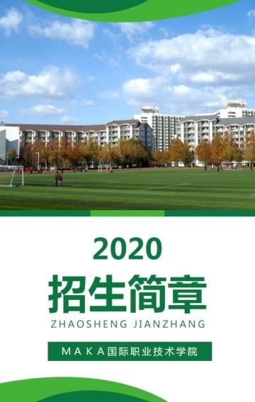 绿色清新大学招生简章高职高专职业学校招生学校宣传H5