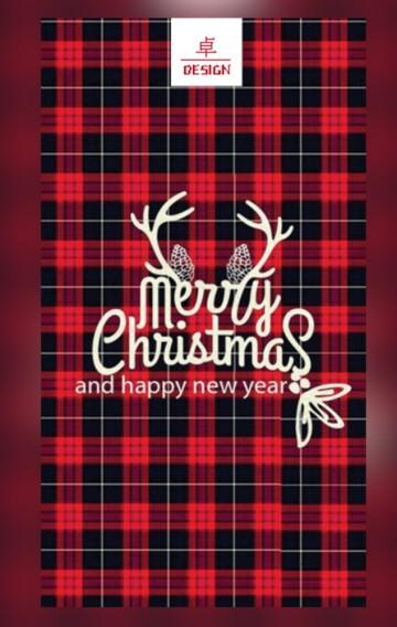 卓·DESIGN/时尚格纹圣诞节祝福贺卡企业个人通用情侣祝福平安夜表白告白企业宣传简介