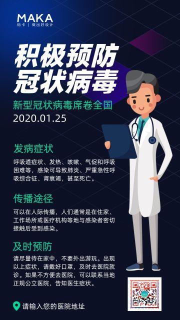 蓝色科技风医疗健康行业冠状病毒预防知识宣传海报