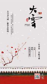 中国风梅花红色城墙大雪节气日签海报