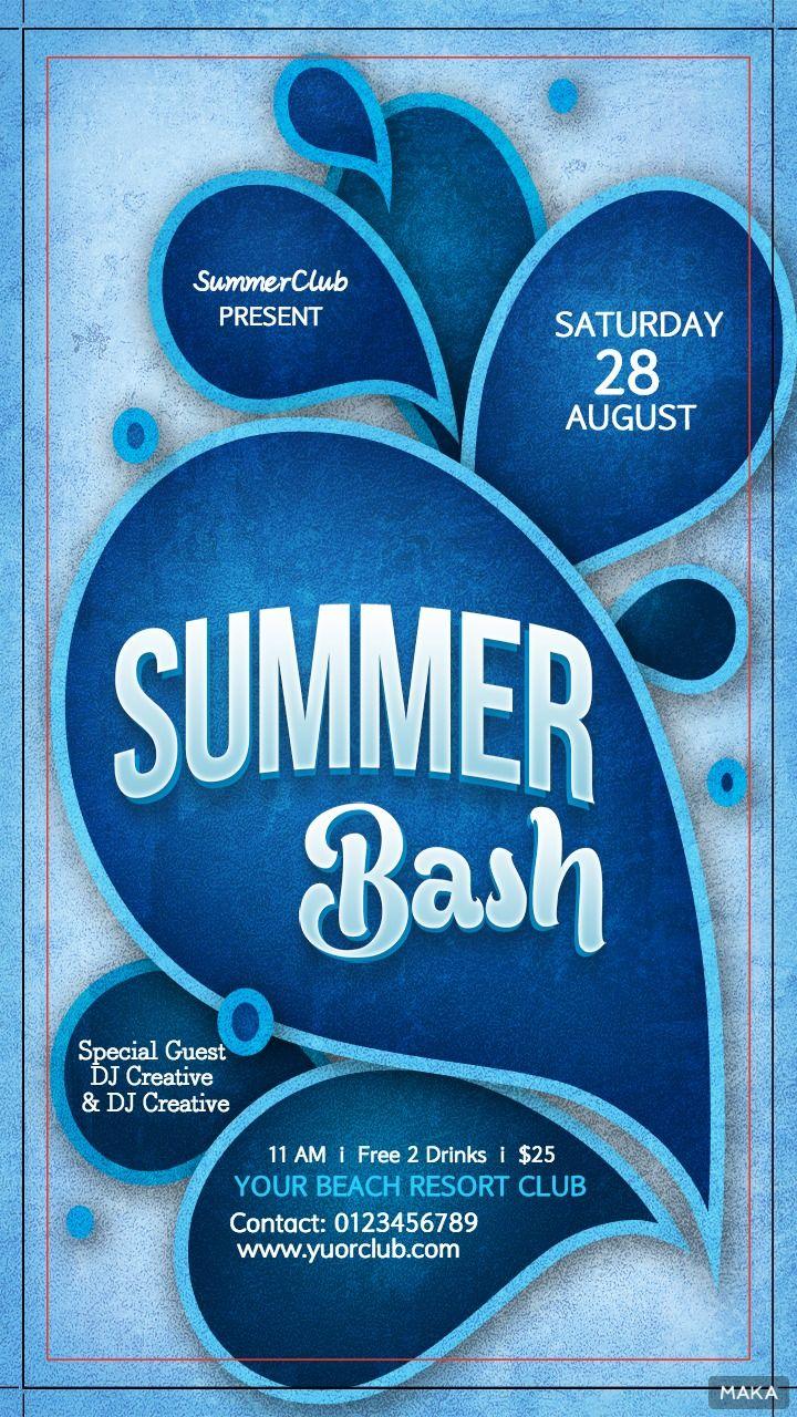 夏日聚会宣传海报之蓝色调简约风格