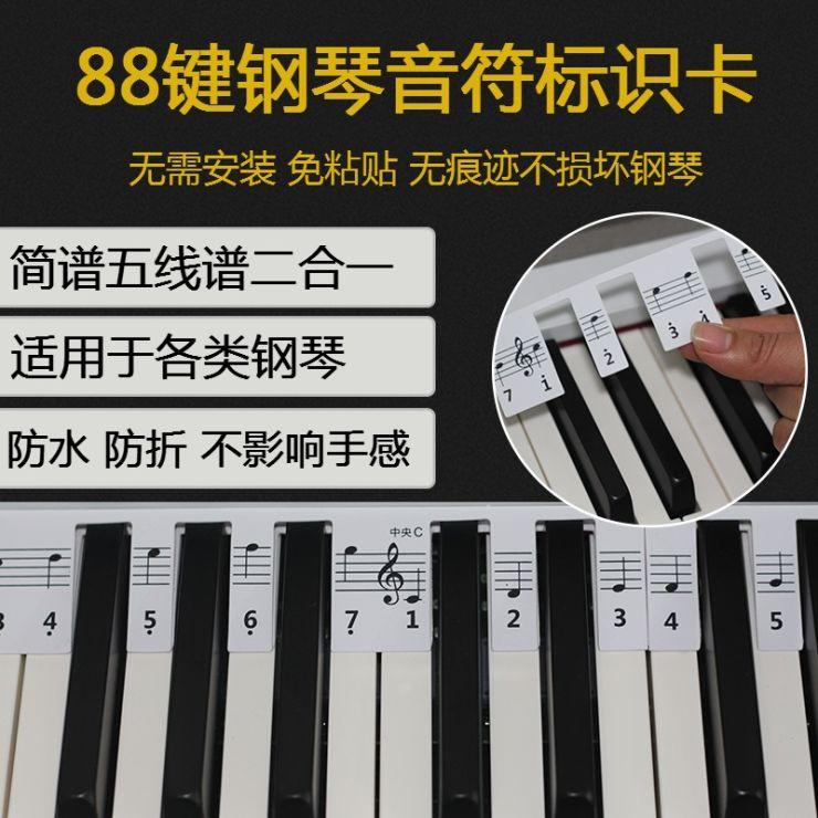 88键钢琴专业音符标识卡主图