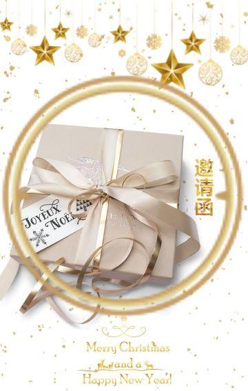 圣诞节活动邀请函 企业晚会邀请函 金色雪花飘洒 新品