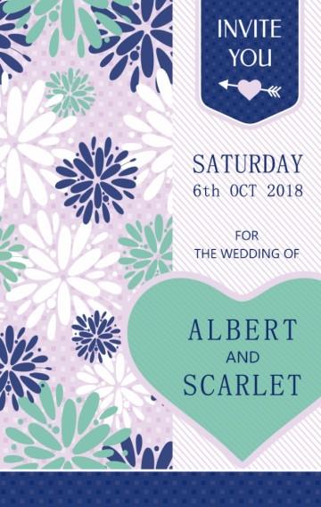 唯美浪漫花朵心形蓝紫色系婚礼邀请函婚礼请柬