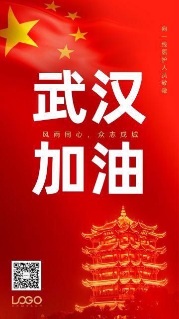 武汉加油新型冠状病毒抗击疫情加油鼓励正能量宣传海报