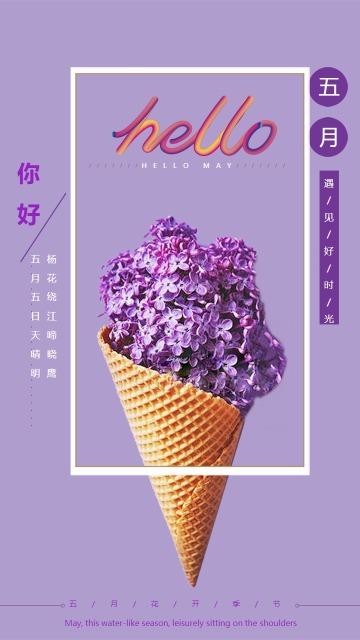 紫色简约月初问候五月你好手机海报