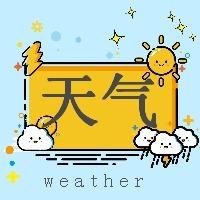 天气预报温度提示蓝色简约卡通微信公众号封面小图通用