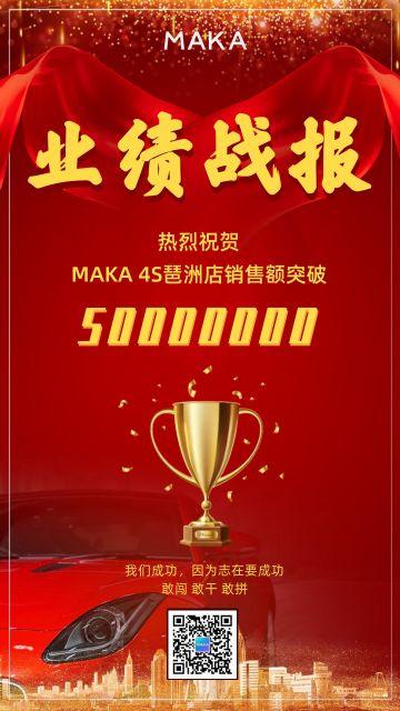 红色喜庆汽车4S店行业销售业绩战报手机海报