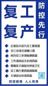 蓝色简约武汉疫情企业商家开业复工复产防控防护指南宣传海报