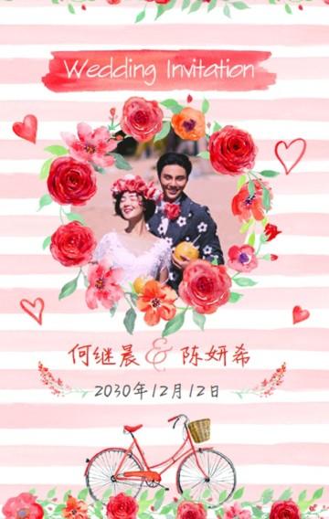 粉色浪漫玫瑰婚礼邀请函/请柬/请帖