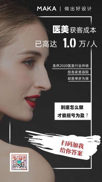 黑色美容美业美发美体痛点刺激宣传海报
