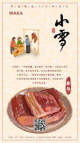 手绘卡通二十四节气小雪风俗腊肉文化宣传手机海报模版