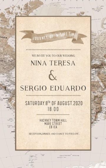 世界地图复古海航图冒险主题环游世界旅行牛皮纸美式婚礼请柬邀请函