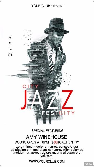 爵士jass人物音乐节音乐会派对活动宣传海报
