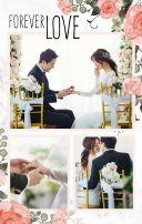 清新森系花园粉色婚礼邀请函轻奢金色梦幻唯美水彩花朵文艺请柬请帖H5